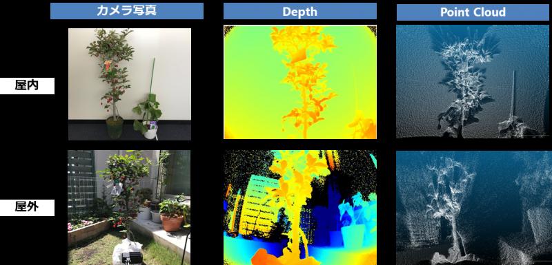 新型TOFカメラ 屋内・屋外比較暫定評価(植物)